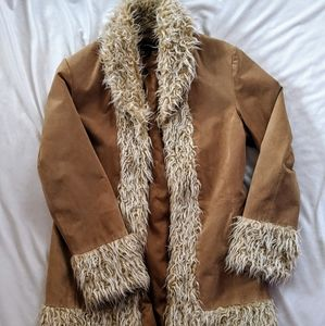 Tan suede coat with faux fur lining